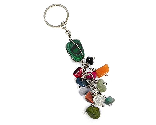 Wire Wrapped Tumbled Stone Chip Stone Dangle Keychain (Green Malachite) - Green Malachite Chip