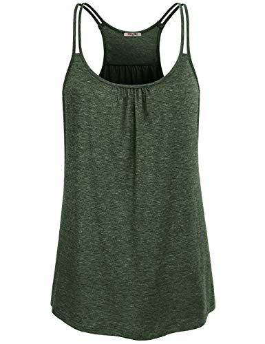 (Hibelle Gym Tank Tops for Women, Ladies XL Summer Shirts Scoop Neck Sleeveless Racerback Workout Camisoles Loose Fitting Drifit Sports Exercise Tennis Clothes Plus Size Heathered)