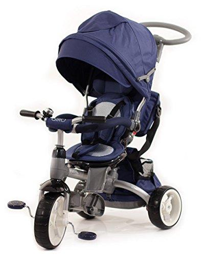 Blu bambino's Clan GIRO.08 - Passeggino Triciclo Multidivertimentozione 6 in 1, Grigio