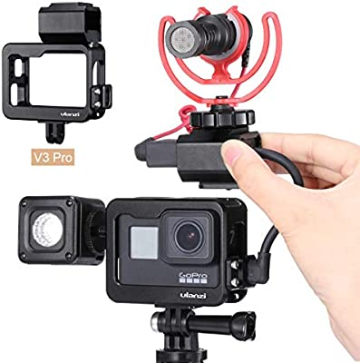 ULANZI V3 Pro Gopro Housing Case with Cold Shoe for Light Stand + Microphone Mount Compatible for GoPro Hero 7 6 5 Mic Audio Adapter Action Camera ...