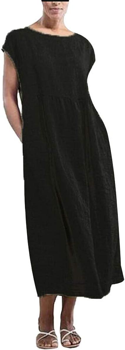 Angel ZYJ Vestiti Estivi Donna Taglie Forti Estate Vestiti Casual Eleganti Corti Manica Corta V-Collo Cotone E Lino T-Shirt Lunga Manica Corta Vestiti Camicia Donna Mini Abito Gonne