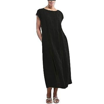 eeb6a3f67795f Amazon.com : LEERYAAY Women's Dresses Summer Casual Cotton Linen O ...