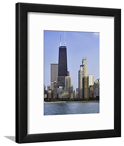 ArtEdge Skyline and John Hancock Building, Chicago, Illinois by Adam Jones, Black Matted Wall Art Framed Print, 12 x 9, Soft White