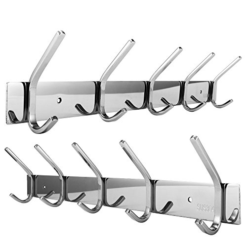 Dosens Coat Hook Rack Wall Mount SUS-304 Stainless Steel Hanger Clothes Hat Holder 10 Hooks 2-pack