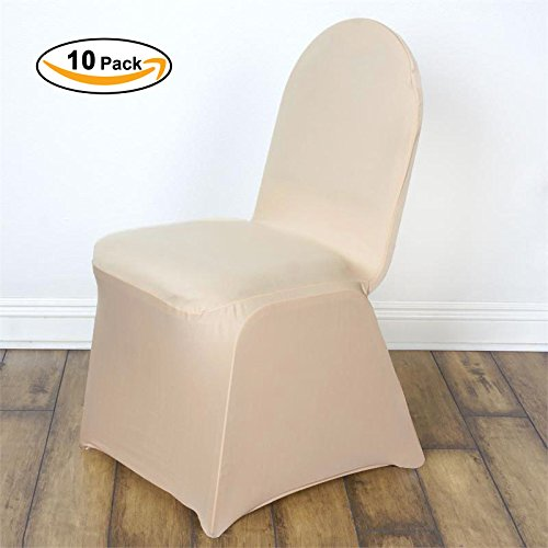 VEEYOO Set of 10 Polyester Spandex Fitted Stretch Chair Cover for Wedding Party Banquet Dining R ...