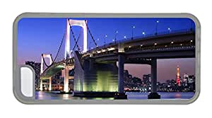 Customized iphone case cute cases City night of Tokyo in Japan bridge buildings lights TPU Transparent for Apple iPhone 5C