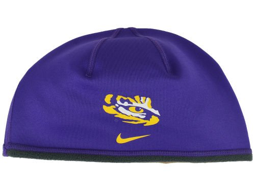 Nike LSU Tigers Reversible Performance Therma Fit Cuffless Beanie Hat One Size OSFA Cap - Purple & Gray -