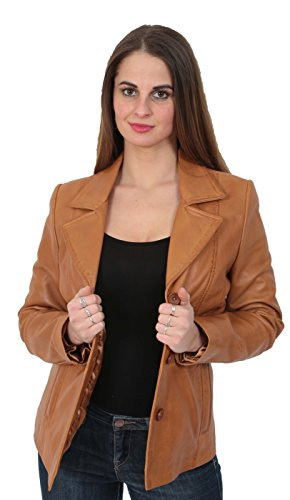 Ladies Leather Blazer Coat Fitted Classic Hip Length Womens Jacket Judy Tan (Large) Nappa Leather Blazer