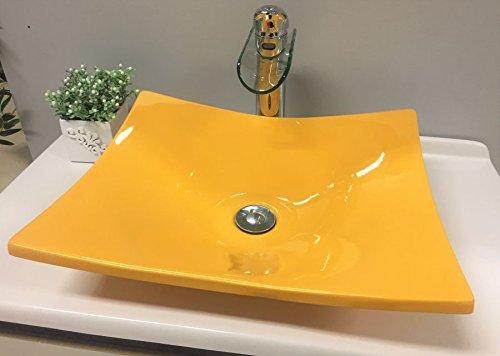 Cuba Pia De Apoio Para Banheiro Toleato Bari 43 Cm Marmorite Amarelo Girassol