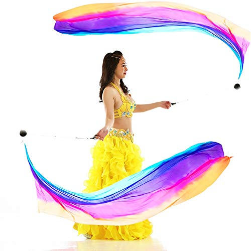 (Nimiman 2Pcs Silk Veil+2 Pcs Poi Chain Ball Women Belly Dance Silk Veil Poi Streamer Stage Prpos)