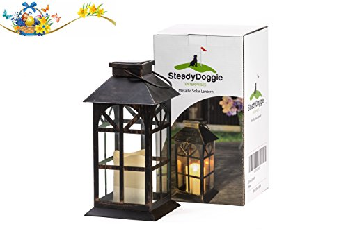 41KVQrhXvAL - SteadyDoggie Solar Lantern Solid Metal and Glass Construction Estate Solar Mission Lantern