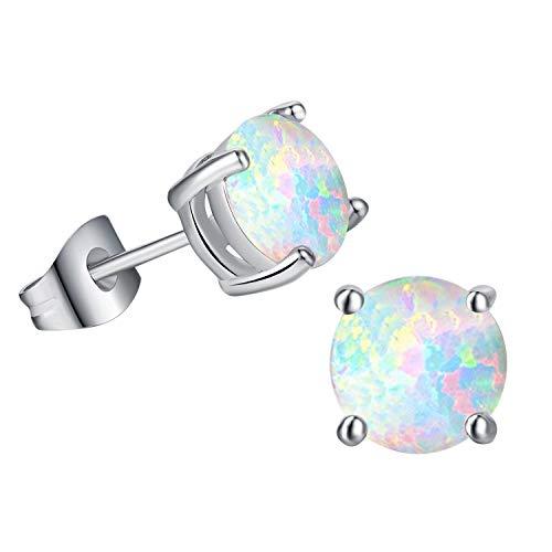 White Created Opal Stud Earrings Round Cut Earrings For Women(8MM) …