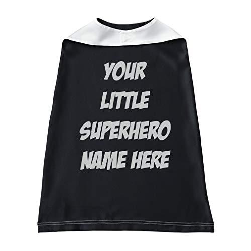 Baby Kids Personalized Superhero Cape Boys-Girls Custom Halloween Cloak - Black, Custom Text ()