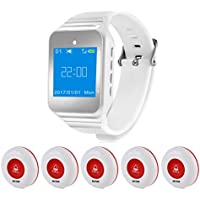 Wireless Restaurant Pager Calling System Table Service Call Buzzers Beepers Caregiver Alert Hospital Kitchen Patient Nursing Church Cafe Shop 1pc Wrist Receiver + 5pcs Waterproof Call Buttons