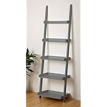 eHemco 5 Tier Leaning Wall Book Shelf in Grey 21-5/8W X