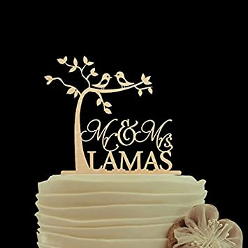 Romantic tree kiss birds wedding cake toppers rustic personalized romantic tree kiss birds wedding cake toppers rustic personalized name mr and mrs cake topper for junglespirit Image collections