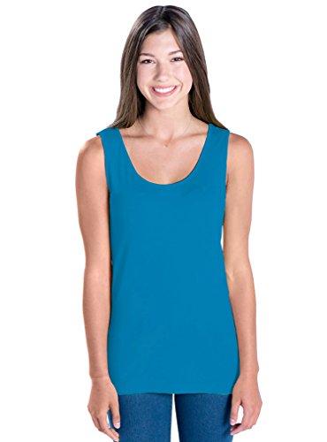 LAT Apparel Ladies Junior Fit Longer Length 100% Cotton Fine Jersey Tank Top [X Large] Cobalt Blue Sleeveless (Fine Jersey Tank)
