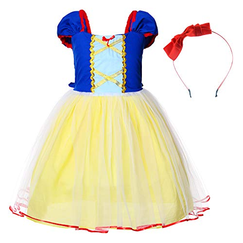 Little Girls Princess Snow White Costume For Birthday Party With Headband 2-3 Years (2T 3T) -