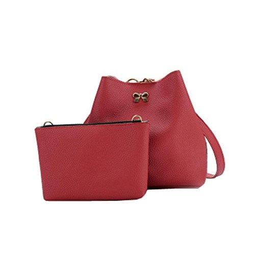 2PC Women Shoulder Bag Tote Purse Satchel Girls Leather Messenger Handbags by VESNIBA (Johnson Betsey Hobo)