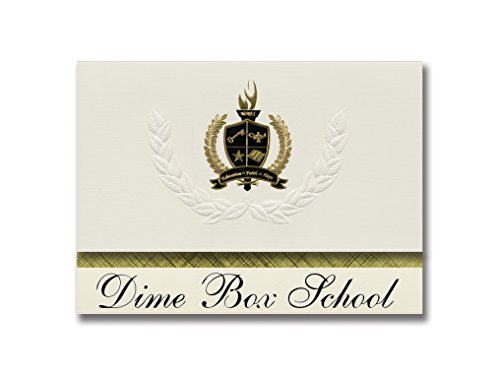 - Signature Announcements Dime Box School (Dime Box, TX) Graduation Announcements, Presidential style, Basic package of 25 with Gold & Black Metallic Foil seal