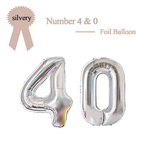 40 Inch Silver 40 Number Foil Balloon 40th Birthday Party Supplies Anniversary Events Graduation Decorations