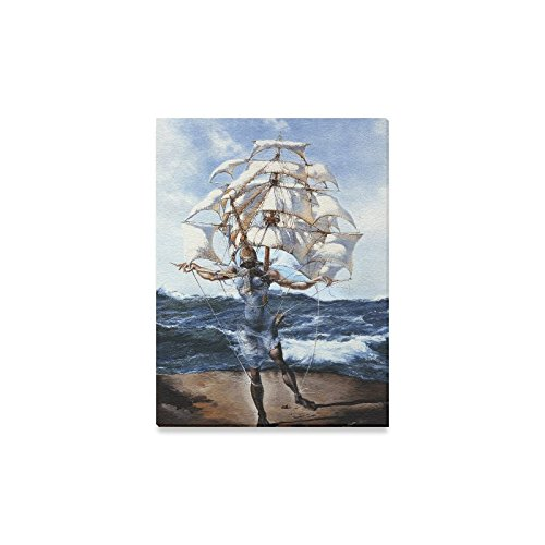Famous Wall Painting Salvador Dali Artwork Reinventing Departure of the Winged Ship Pattern Home Decor Canvas Prints- 12x16 Inch(One Side) (Salvador Dali Artwork)