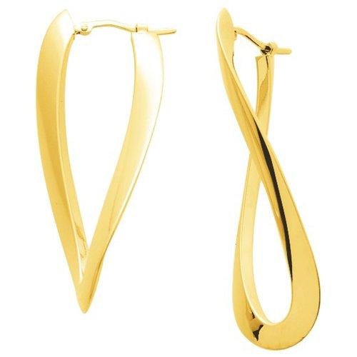 So Chic Bijoux © Boucles d'oreilles Femme Créoles Torsadées Forme 8 Fil Rectangle Or Jaune 750/000 (18 carats)
