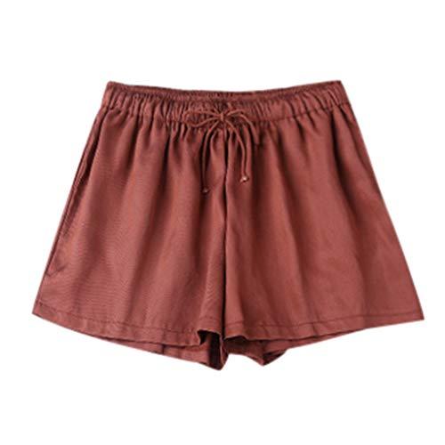 iHPH7 Yoga Pants Women's Power Yoga Pants Control Workout Yoga Capris Pants Leggings Casual Loose Pants Elastic Waist Summer Slim Lady Short (M,Red)]()
