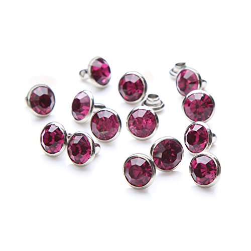 100 Sets Cz Colorful Crystal Rapid Rivets Silver Color Spots Studs Double Cap for DIY Leather-Craft (Hot Pink, 6MM)