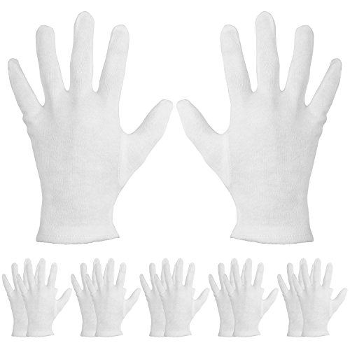 Working Traffic Light Costume (Mudder 6 Pairs Cotton Cosmetic Gloves Hand Spa Gloves for Moisturizing, White (L Size))