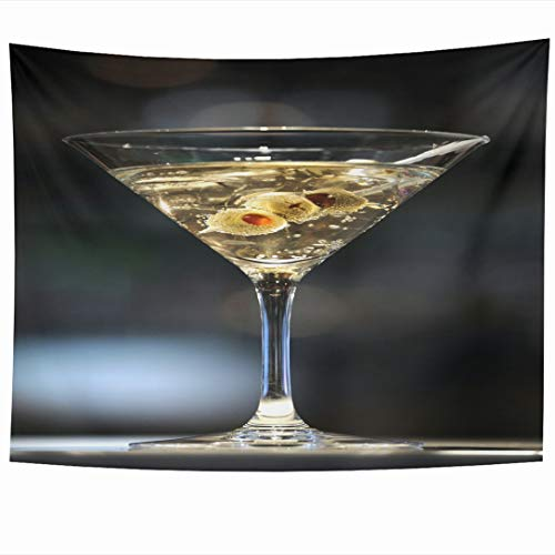 Ahawoso Tapestry 60 x 50 Inches Cocktail Vodka Martini On Bar Three Olives Food Drink Shaken Alcohol Alcoholic Bond Design Wall Hanging Home Decor Tapestries for Living Room Bedroom Dorm