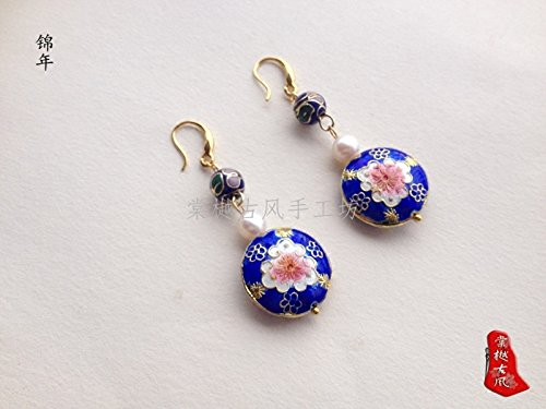 TKHNE Retro National Wind copper Cloisonne round cake beads natural freshwater white pearl earrings white fungus hook ()