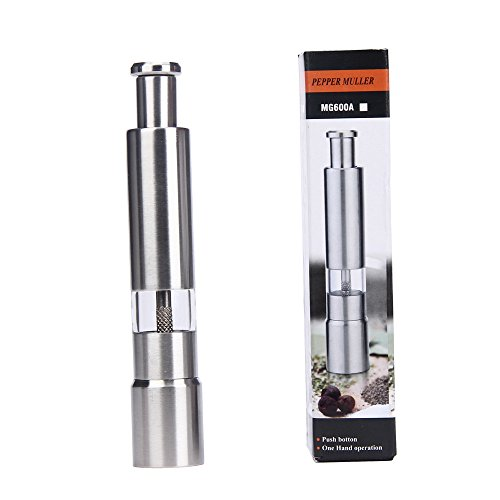 (♚Rendodon♚ Kitchen Tools, Food Storage, Stainless Steel Thumb Push into Salt Pepper Grinder, 1pc Stainless Steel Salt Herb Pepper Mill Grinder Muller Hand Crank Kitchen Tool New (Silver))