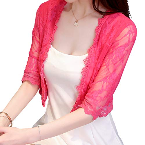 Itemnew Women's Sweet Candy Color Lace Embroidery Mesh Slim Bolero Cardigan Shrug (X-Large, Rose)