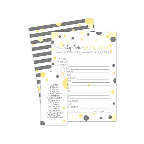 Yellow and Grey Baby Shower Word Scramble Game - 25 Pack ()