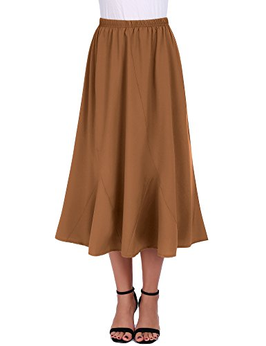 FISOUL Women Vintage Elastic Waist Skirts Casual Below Knee Length Flared A-Line Pleated Long Skirts (Coffee, X-Large)