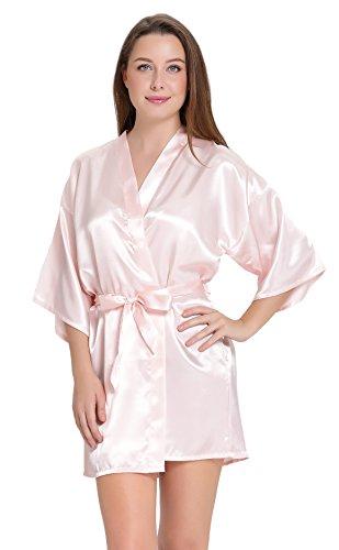 Aibrou Women/'s Kimono Robes Satin Pure Colour Short style with Oblique V-Neck, Pink, Medium