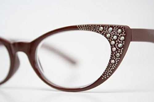 Rhinestone Cat Eye Womens Reading Glasses +2.25 Red (Carrying Case Included)