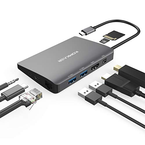 USB C Hub, Aluminum USB C Adapter 9-in-1 with 4K HDMI, Mini Display Port, 1000M Ethernet LAN, 2USB 3.0, SD/TF Card Reader, 3.5mm Audio/Mic 2 in 1, Type C Power Delivery for MacBook Pro and More (Best Monitor For Apple Mini)