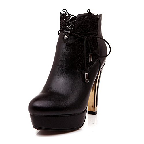 Top Low Round Heels AllhqFashion Lace Black Closed PU Solid High Boots With Womens Toe 34 5qXF0FrwI