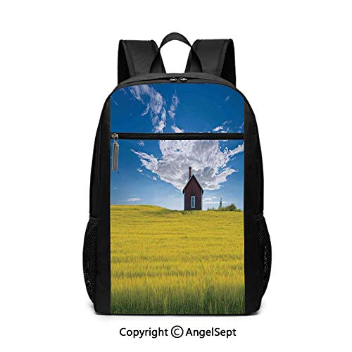"Travel Backpack Laptop Backpack,Traditional Red Scandinavian Summerhouse in Yellow Oat Field Nordic Tranquility Theme,White Blue,6.5""x12""x17"",For Boys Girls School Book Bags"