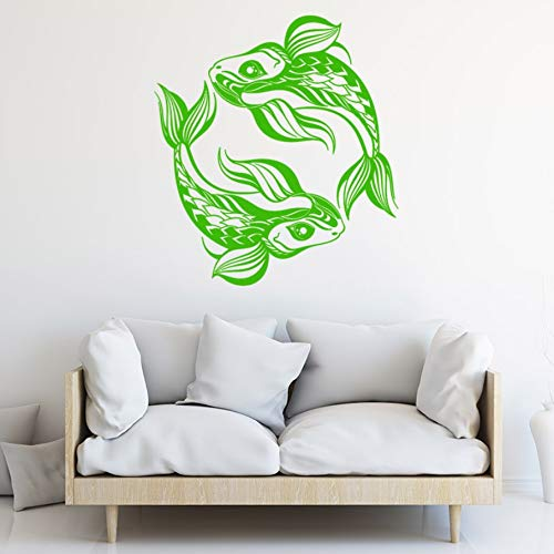 TWJYDP Wall Sticker Wallstickers Vinyl Wall Decal Pisces Horoscope Animals Fishes Asian Style Stickers Finished Size 57X65Cm