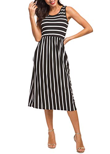 - INWECH Women's Scoop Neck Casual Elastic Waist Pockets Striped Dresses Midi Sleeveless Knee Length Dress (Black 1, Large)