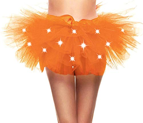 Adult's LED Light Up 5 Layered Tulle Tutu Mini Skirt, Fluorescent Orange]()