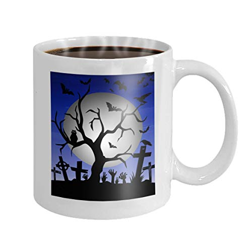 11 oz Coffee Mug happy halloween tree bats owl gravestone decoration full moon Little Novelty Ceramic Gifts Tea Cup