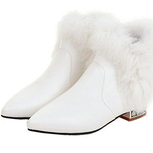 ENMAYER Damen Pleuche Material Keil Blockabsatz Spitzschuh Slip auf Ankel Stiefel Weiß3