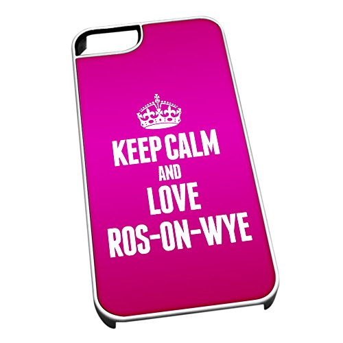 Bianco cover per iPhone 5/5S 0529Pink Keep Calm and Love ros-on-wye