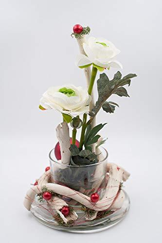 Centro de mesa en blanco+rojo con ranúnculo-arreglo floral para ...