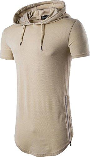 Sportides Mens Casual Longline T-Shirt Short Sleeve Hoodies Zipper Hip Hop Tee Tops JZA028 Khaki (Design Khaki T-shirt Tee)