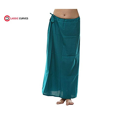 CLASSIC CURVES Saree Coton Underskirt des Femmes Indiennes Taille Libre Readymade Inskirt Peticoat Bleu Sarcelle